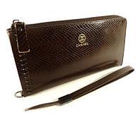 Кошелек-клатч кожаный на молнии Chanel 2012-1 коричневый