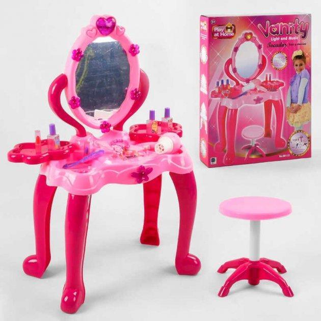 Іграшкове трюмо на ніжках з двома поличками, стільчиком, феном, аксесуарами і світловими ефектами 661-31