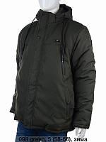 Зимова чоловіча куртка пряма на флісі з капюшоном розмір батал 58-66, темно-сірого кольору