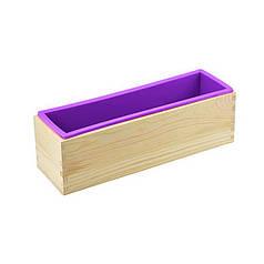 Силіконова форма CUMENSS AI-2015 Purple для мила під нарізку в дерев'яному каркасі миловаріння