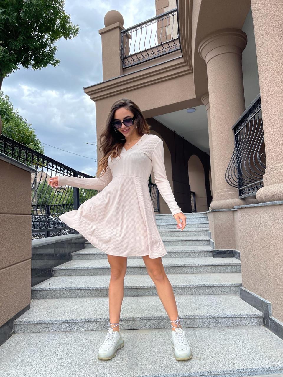 Легкое женское платье из трикотажа рубчик, длинный рукав