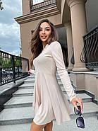 Легкое женское платье из трикотажа рубчик, длинный рукав, фото 2