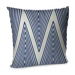 Подушка диванна з оксамиту Синие зигзагообразные линии 45x45 см (45BP_SEA006)
