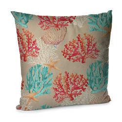 Подушка диванна з оксамиту Кораллы 45x45 см (45BP_SEA003)