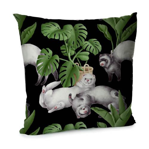 Подушка диванна з оксамиту Ласки в тропических листьях 45x45 см (45BP_FLORA011)