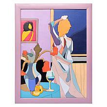 """Картина-мозаїка з дерева 34 * 44 """"Вечір в готелі"""""""