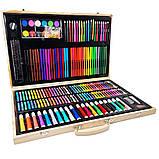 Детский набор для рисования и творчества 220 предметов в деревянном чемодане с фломастерами карандаши мелки, фото 2
