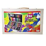 Детский набор для рисования и творчества 220 предметов в деревянном чемодане с фломастерами карандаши мелки, фото 4