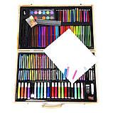 Детский набор для рисования и творчества 220 предметов в деревянном чемодане с фломастерами карандаши мелки, фото 3