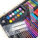 Детский набор для рисования и творчества 220 предметов в деревянном чемодане с фломастерами карандаши мелки, фото 5