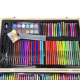 Детский набор для рисования и творчества 220 предметов в деревянном чемодане с фломастерами карандаши мелки, фото 6