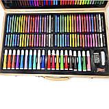 Детский набор для рисования и творчества 220 предметов в деревянном чемодане с фломастерами карандаши мелки, фото 7