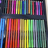 Детский набор для рисования и творчества 220 предметов в деревянном чемодане с фломастерами карандаши мелки, фото 8