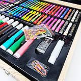 Детский набор для рисования и творчества 220 предметов в деревянном чемодане с фломастерами карандаши мелки, фото 9