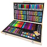 Детский набор для рисования и творчества 220 предметов в деревянном чемодане с фломастерами карандаши мелки, фото 10
