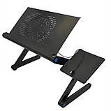 Столик трансформер для ноутбука складной металлический набор с GPS трекером LAPTOP TABLE Т9 охлаждающий, фото 3