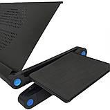 Столик трансформер для ноутбука складной металлический набор с GPS трекером LAPTOP TABLE Т9 охлаждающий, фото 4