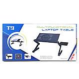 Столик трансформер для ноутбука складной металлический набор с GPS трекером LAPTOP TABLE Т9 охлаждающий, фото 6