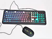Комплект клавиатура и мышь проводная LED GAMING KEYBOARD HK3970 с подсветкой