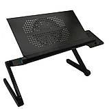 Столик трансформер для ноутбука складной металлический набор с GPS трекером LAPTOP TABLE Т9 охлаждающий, фото 8