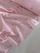 Муслін (бавовняна тканина) жатка на пудрі сердечка (60*135)