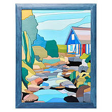 """Картина-мозаика из дерева 34*44 """"Дом у ручья"""""""