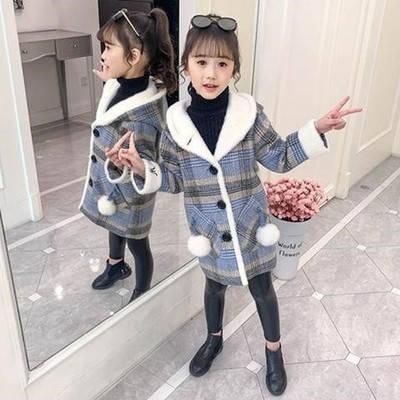 Детское  пальто для девочки в клеточку Сусанна, фото 2