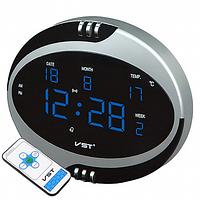 Часы электронные  VST-770Т-5 синие, температура, пульт Д/У, 220V