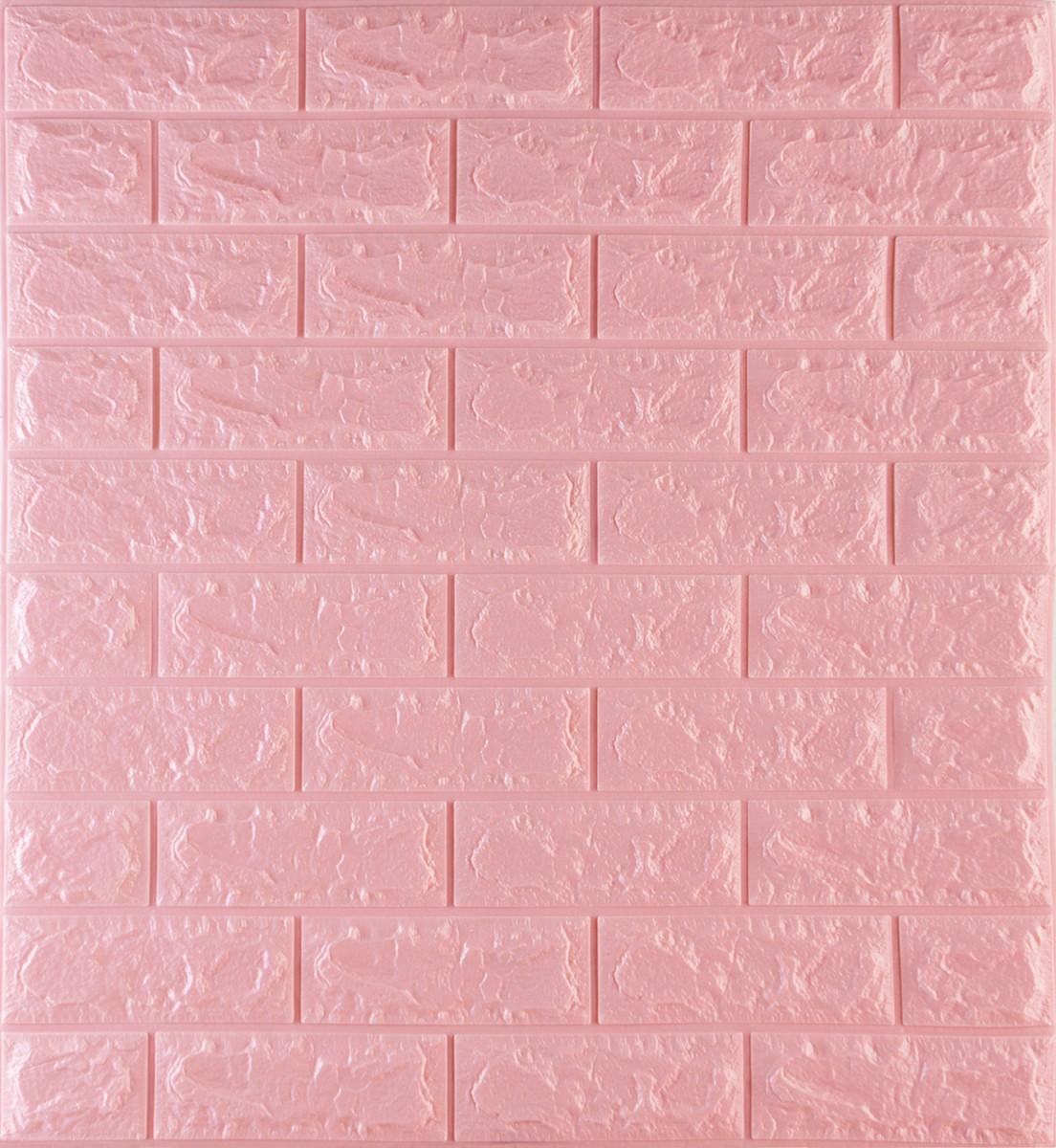 Самоклеюча декоративна 3Д панель Wall Sticker 700х770х7мм під рожевий цегла