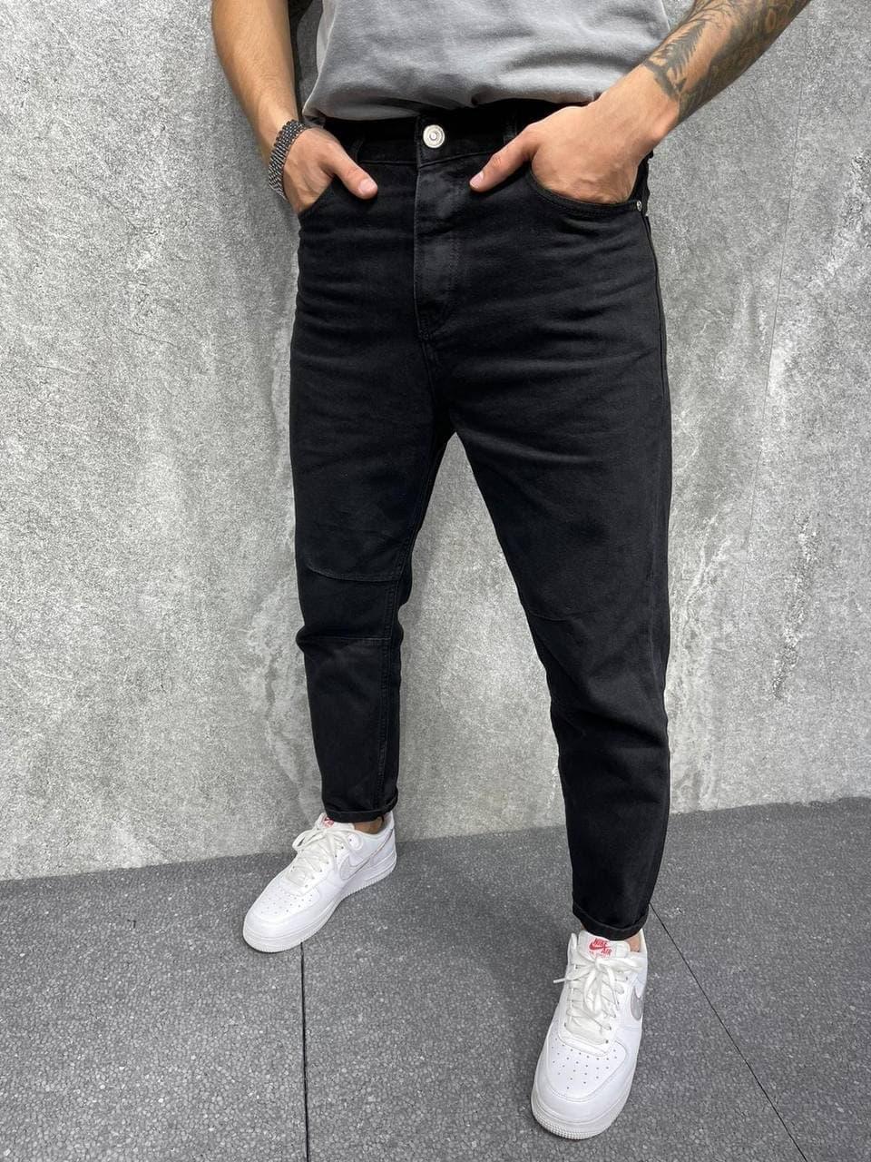 Чоловічі джинси завужені МОМ (чорні) круті повсякденні A6498-1