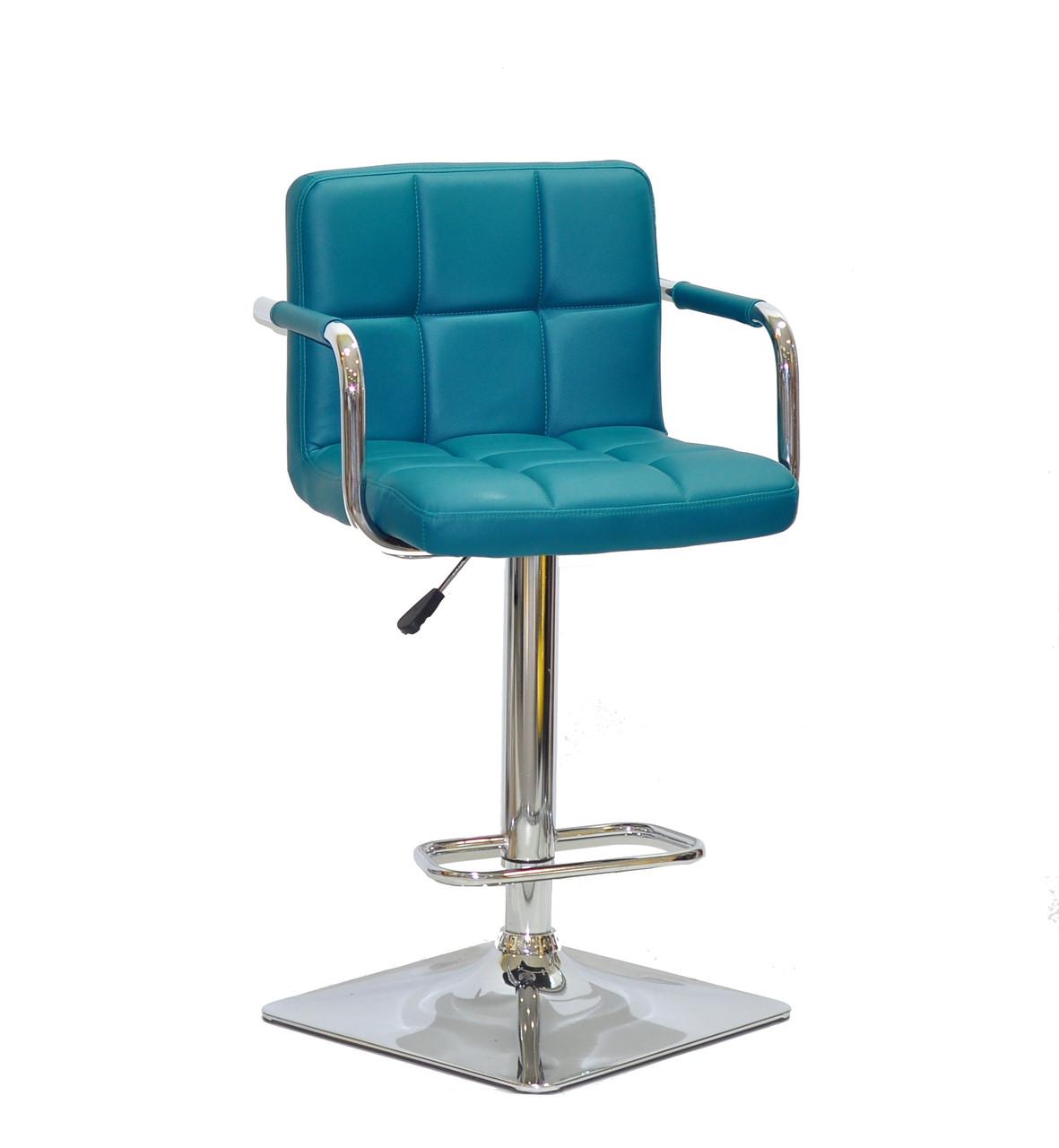 Барный стул Арно зеленый кожзам с подлокотниками на квадратной хром базе ARNO BAR 4CH - BASE