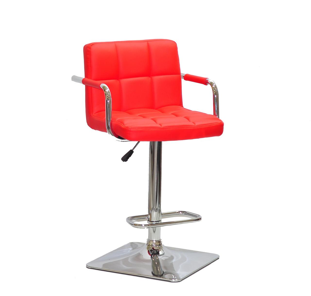 Барный стул Арно красный кожзам с подлокотниками на квадратной хром базе ARNO BAR 4CH - BASE