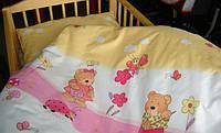 Детское постельное белье в кроватку из 3-ед- мишки с лейками розовые