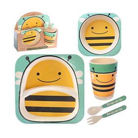 """Набір дитячого посуду з бамбука """"Бджілка"""" арт. 870-24370"""