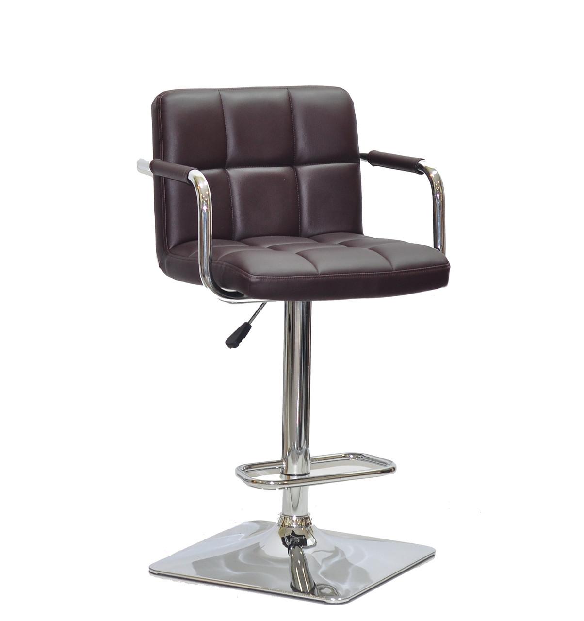 Барный стул Арно коричневый кожзам с подлокотниками на квадратной хром базе ARNO BAR 4CH - BASE