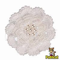 Мини декор Цветок с жемчугом вязаное Белый 7 см HandMade, фото 1