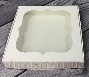 Коробка для печива, пряників, з вікном, 15 см х 15 см х 3 см, мілований картон