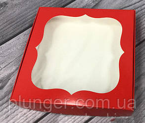 Коробка для печива, пряників з вікном, 15 см х 15 см х 3 см, мілований картон