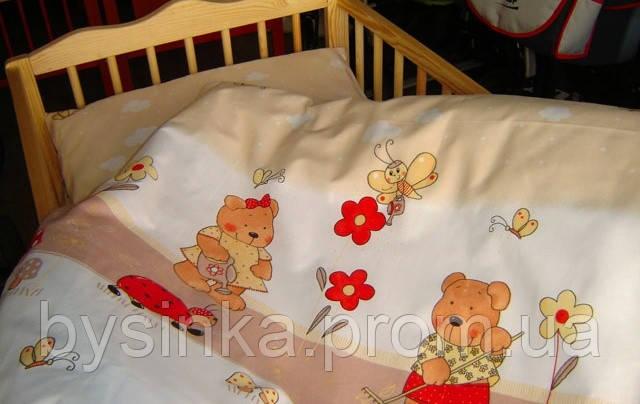 Комплект в кроватку из 3-ед- мишки с лейками беж