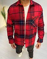 Рубашка мужская байковая в клетку красного цвета. Мужская рубашка клетка байковая.