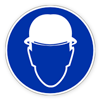 Предписывающий знак «Работать в защитной каске (шлеме)»