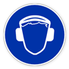 Предписывающий знак «Работать в защитных наушниках (шлеме)».