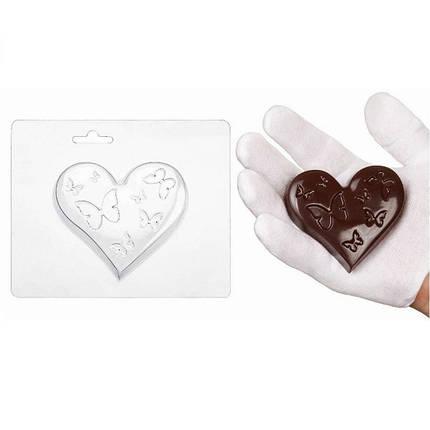 """Пластиковая форма для шоколада """"Сердечко с бабочкой"""" арт. ВК02062064, фото 2"""