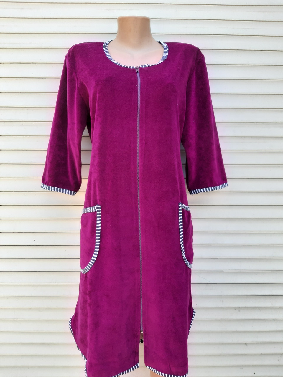 Женский велюровый халат 48 размер Теплый халат Домашний халат однотонный сиреневый