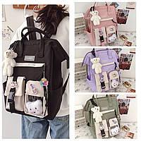 Школьный подростковый рюкзак, сумка-портфель для девочки 5-11 класса в наборе со значками Education, 4 цвета