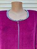 Женский велюровый халат 48 размер Теплый халат Домашний халат однотонный сиреневый, фото 9