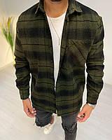 Рубашка мужская байковая в клетку цвета хаки. Мужская рубашка клетка байковая.