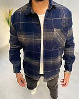 Рубашка мужская байковая в клетку синего цвета. Мужская рубашка клетка байковая.