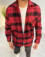 Рубашка мужская байковая в клетку красная с черным. Мужская рубашка клетка байковая.