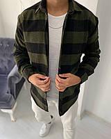 Рубашка мужская байковая в клетку хаки с черным. Мужская рубашка клетка байковая.